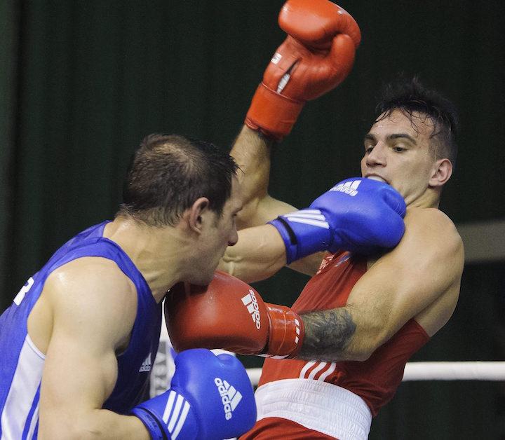 Harcsa Zoltán (j) és a török Biror Aygun összecsapása a 75 kilogrammos súlycsoportban. MTI Fotó: Czeglédi Zsolt