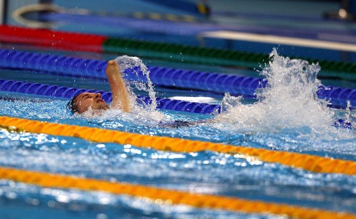 Rio de Janeiro, 2016. szeptember 17. A Magyar Paralimpiai Bizottság (MPB) által közreadott képen Vereczkei Zsolt az S5-ös kategória férfi 50 méteres hátúszásának döntőjében a riói paralimpián az Olimpiai Uszodában 2016. szeptember 16-án. A magyar sportoló a harmadik helyen végzett. MTI Fotó: MPB/Hoffer Szilvi