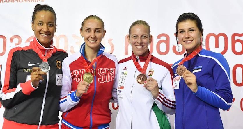 Alexandra N'dolo, Kolobova, Szász-Kovács Emese és Beljajeva. Fotó: Augusto Bizzi/FIE