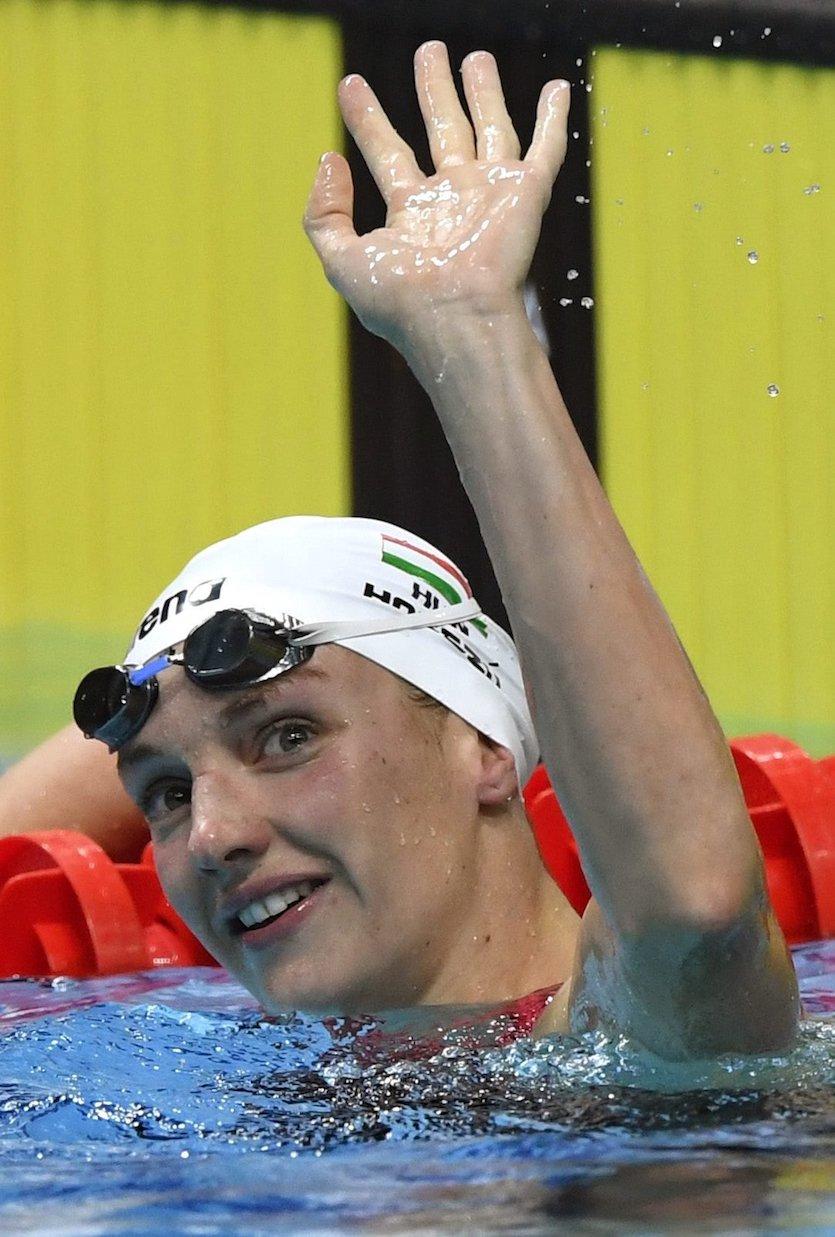 Budapest, 2017. július 26. Hosszú Katinka a női 200 méteres pillangóúszás előfutama után a 17. vizes világbajnokságon a Duna Arénában 2017. július 26-án. MTI Fotó: Illyés Tibor