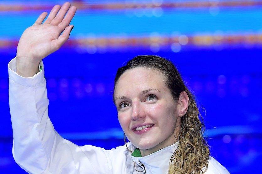 Budapest, 2017. július 27. A harmadik helyezett Hosszú Katinka a női 200 méteres pillangóúszás eredményhirdetésén a 17. vizes világbajnokságon a Duna Arénában 2017. július 27-én. MTI Fotó: Kovács Tamás