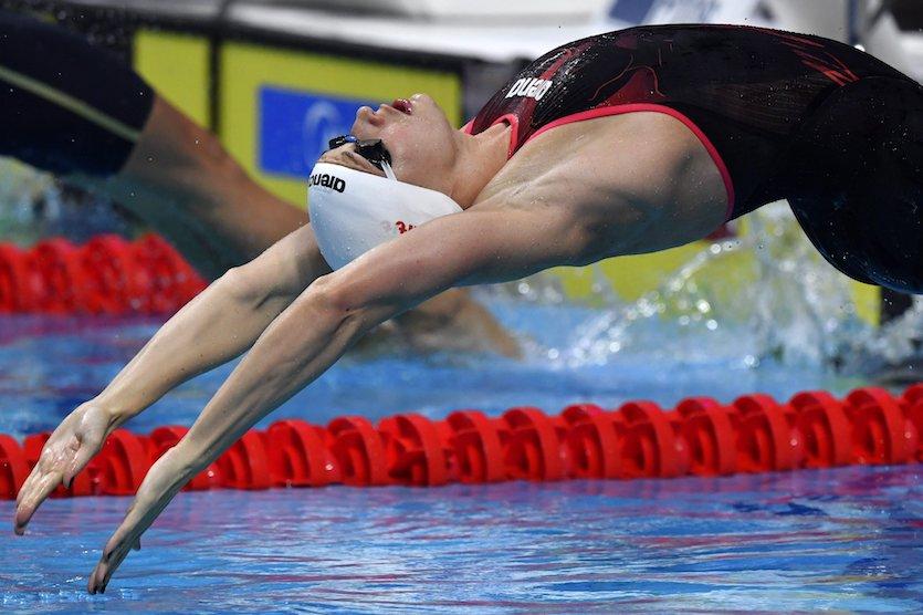 Budapest, 2017. július 28. Hosszú Katinka rajtol a női 200 méteres hátúszás elődöntőjében a 17. vizes világbajnokságon a Duna Arénában 2017. július 28-án. MTI Fotó: Illyés Tibor