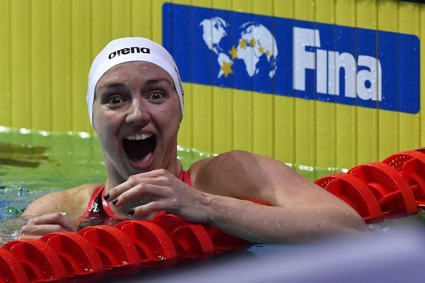 Budapest, 2017. július 29. A második helyezett Hosszú Katinka a női 200 méteres hátúszás döntője után a 17. vizes világbajnokságon a Duna Arénában 2017. július 29-én. MTI Fotó: Illyés Tibor