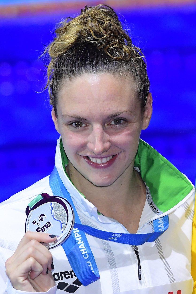 Budapest, 2017. július 29. A második helyezett Hosszú Katinka a női 200 méteres hátúszás eredményhirdetésén a 17. vizes világbajnokságon a Duna Arénában 2017. július 29-én. MTI Fotó: Kovács Tamás